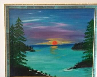Acrylic On canvas  wall art lake sunset