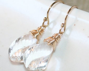 Clear Twisted Rock Crystal Dangle Drop Earrings, 14K Gold Filled, Wire Wrapped, Gemstone Earrings, April Birthstone, Bridal Earrings