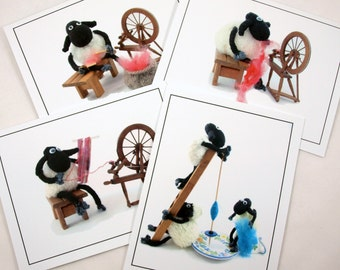spinning sheep note cards, whimsical gift for spinners, knitters or fiber lovers