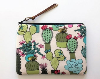 Green cactus zipper bag - cactus print fabric pouches - gift ideas for teachers - garden themed gifts - cosmetic pouch bag