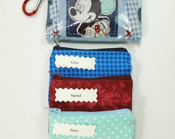 LAMINATED Kids Envelope Wallet, Cash Budget Wallet, Give Save Spend -Plaid Blue Mickey- for use with the Dave Ramsey System, READY to SHIP