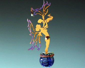 Potion Bottle - Boy Fairy - Copper Mother &  Son Sculpture with Magical Potion Bottle in your choice of Red, Blue or Green