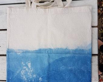 Shibori indigo dyed cotton shopping bag