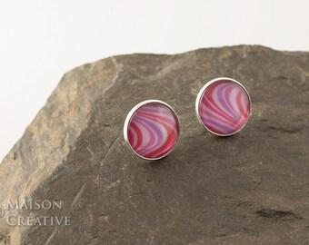 XL Earrings Silver Retro pattern in pink