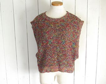 80s Open Side Sweater Vintage Slouchy Knit Blouse Pink Multicolored New Wave Pink One Size Fits Most S M L