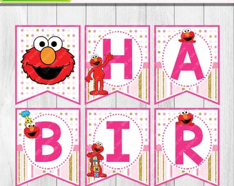 Girl Elmo Birthday Banner Printable, Pink Elmo Party Printable, Girl Sesame Street Birthday, 1st Birthday, Elmo Name Banner Printable