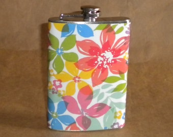 SALE Mother's Day Gift or Bridal Shower Gift Watercolor Floral Print 8 ounce Stainless Steel Gift Flask KR2D 6320