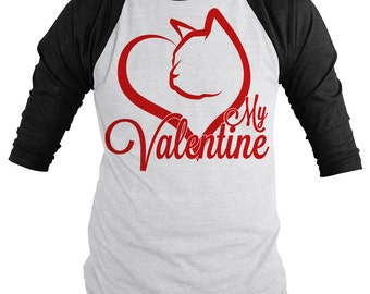 Funny Cat Valentine's Day Shirt 3/4 Sleeve Raglan Love T-shirt Cat Lover