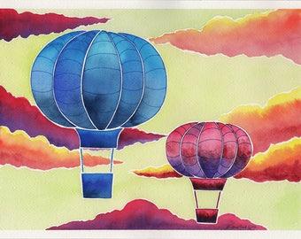 Balloons - 9x12in. Original Watercolor Painting