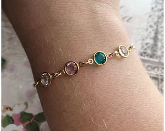 Gold Birthstone Bracelet - Personalized Crystal Bracelet - Family Bracelet - Personalized Jewelry - Dainty Bracelet - Birthstone Jewelry