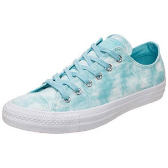 Aqua Baby Blue Wedding Converse Low Bride Shoe Marble Wash soft Peached Canvas w/ Swarovski Crystal Rhinestone Chuck Taylor All Star Sneaker