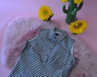 Vintage 90s gingham black and white checkered sleeveless button down