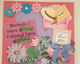 Thank You Card (for Sister)/Handmade/3D/Bright Pink with Lavender Embossing/Roses/Daisies/Various Die Cuts/Embellishments/Bow/Sentiment
