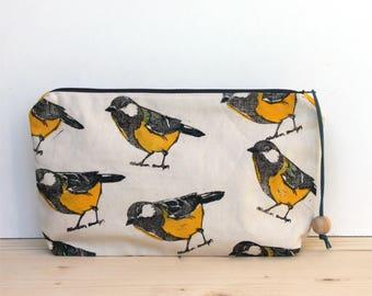 Great tit bird clutch bag, large pencil case, boho clutch, block printing, handmade
