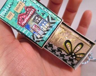 Original Mixed Media Matchbox Tiny Inspirations Blue Green Tiny House by Ceville Designs