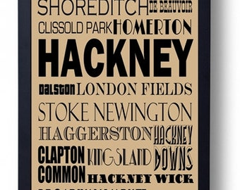 Hackney, London (Dalston, Stoke Newington Shoreditch) Typography Wall Art Poster