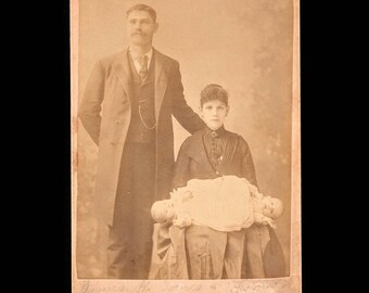 RARE Antique Victorian Era Cabinet Card Photo Conjoined Twins Side Show Freak Show The Jones Tiwns