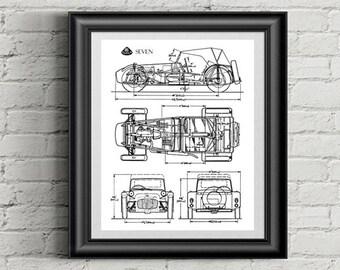 """Lotus 7 Blueprint, Blueprint Art, Lotus Seven, Garage Art, Printable Automotive Decor, Lotus, Instant Download, Blueprints, 8x10, 11x14"""""""