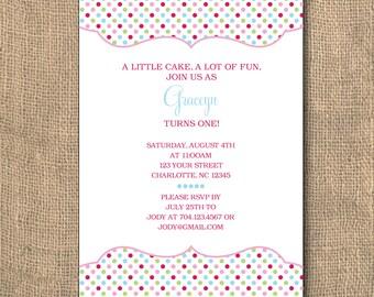 Scalloped Frame Polka Dot Birthday Invitation - 5x7 PRINTABLE
