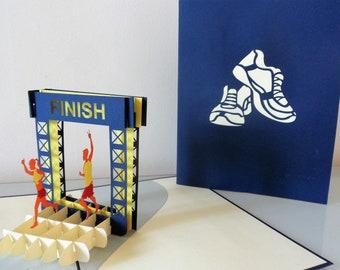 Marathon Running Finish Line Pop up Card - blank-good luck-congratulations-happy birthday (sku184)