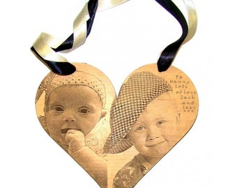 Photo Engraved Hanging Wood Heart