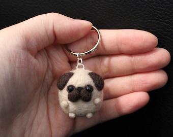 pug Cute Needle Felted Keychain Puppy Accessory gift dog handmade christmas animal mini