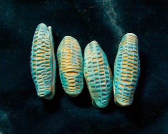 Handmade Polymer Clay Pod Beads in Turquoise-Blue and Gold-- set of four
