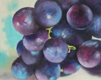 Oil painting of black grapes, small painting of fruit
