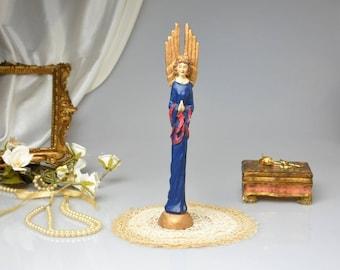 Vintage Praying Angel Figurine Tall Winged Cherub Statue Latin Angelic Ornament Antique Style Home Decor