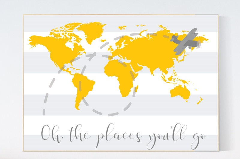 Oh the places you\'ll go, travel nursery decor, World Map wall art ...