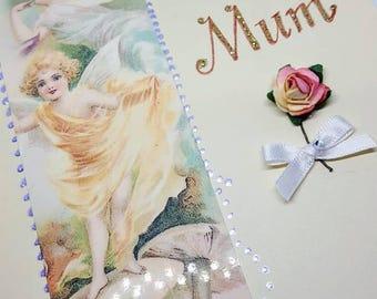 Fairy For mum card for Mother Flower fairies Fairy greetings card Floral card Flower rose card fairy card Blank birthday card for mum's gift