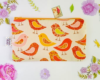 Zipper Pouch Cosmetic Bag Clutch Zipper Coin Purse Gift for Her Pencil Pouch Organiser Orange Birds on Peach