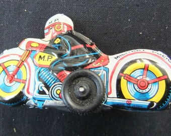 Vintage Toy Motorcycle Friction Tin Lithographed Japanese Friction Toy Motorcycle - Military Police