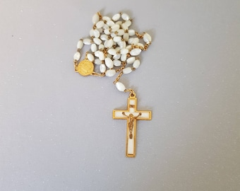 vintage french mother of pearl rosary, prayer beads, christian jewelry