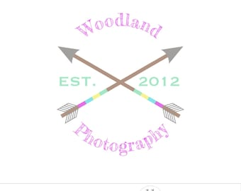 Woodland logo, colorful arrows, photo logo design, business branding