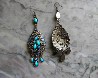 Pierced Dangle Earrings, Baby Blue.