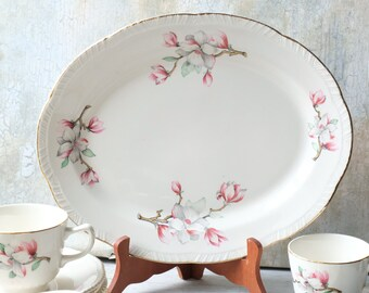 Homer Laughlin Oval Serving Plate Pink White Dogwood, Flower Meat Platter, Made in USA, Tea Party, 1950s MCM Mid Century Farmhouse