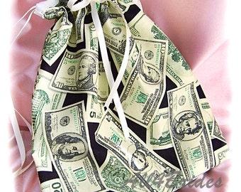 Wedding dance drawstring bag, wedding money dance bag.