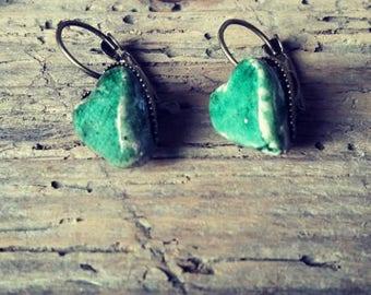 Green handmade Raku Ring Green Earrings