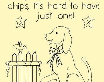 "Primitive Stitchery E-Pattern, June Dog ""Dogs are like potato chips, it's hard to have just one!"