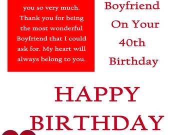 Boyfriend 40 Birthday Card with removable laminate