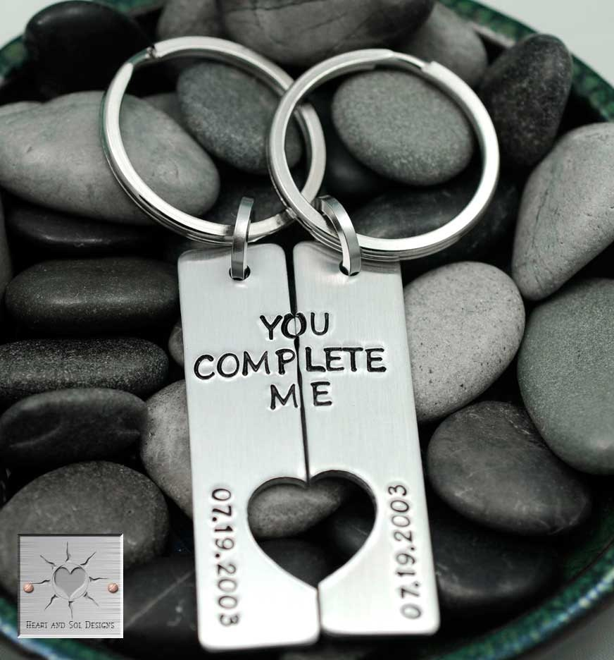 Couples Gift You Complete Me Keychain Set Anniversary