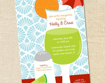 Sweet Wishes Salted Rim Margarita Pool Party Invitations - PRINTED - Digital File Also Available