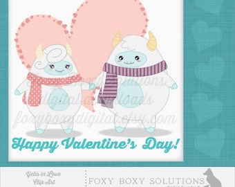 Yetis in Love: Valentine's Day Clip Art - High Resolution PNG Clip Art; Set of 2 Images