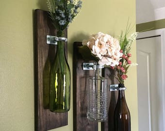 Wine Bottle Wall Vases – Single Vase or Sets of 2, 3, 4: BOTTLE NOT INCLUDED, Add Your Own Special Bottle & Flowers!