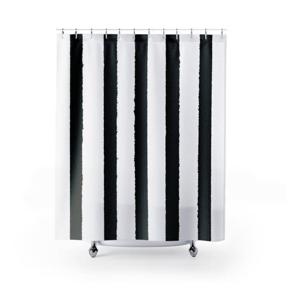 White and Black Shower Curtain . Striped Shower Curtain . Modern Shower Curtain . Shower Curtain . Striped Shower Curtain . Black and White