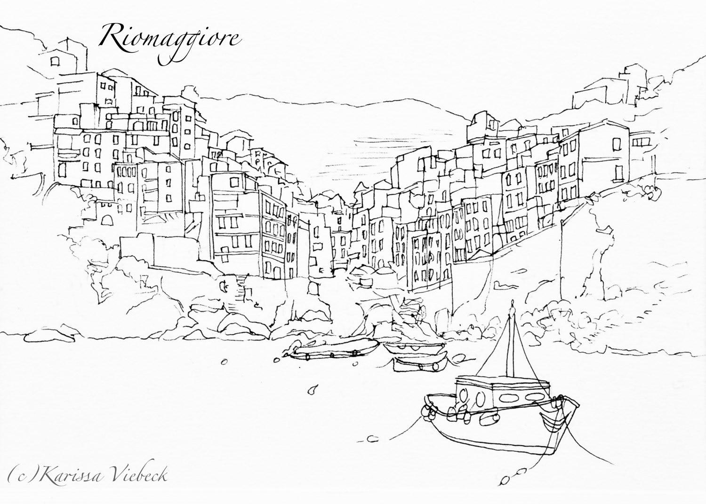 Manarola Auto Electrical Wiring Diagram Back Yard Keys Pfsb5105 Cinque Terre Italy Pen Drawing Print Riomaggiore