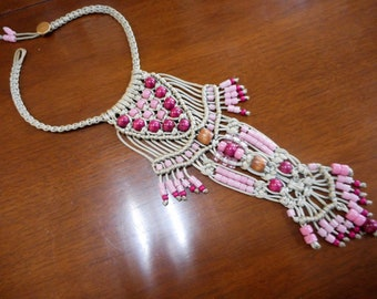 Fantastic Silk Macrame Long Beaded Art Necklace Adorned With Rose and Pink Beads