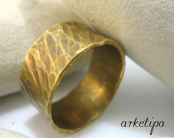 Personalized Bronze Ring / Band..  Ring for men / women.. Wedding Band.. Custom Ring.. Hammered Handmade Ring..