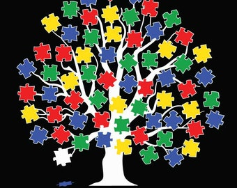 AUTISM Awareness Tree 5 color puzzle pieces Vinyl Decal - #AA003